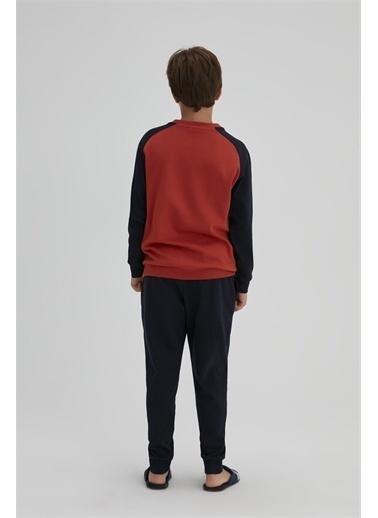 Dagi Erkek Çocuk Interlok Önü Yazili V Yaka Uzun Kol Pijama Takimi Lacivert